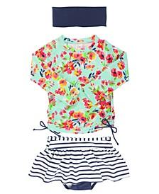 Baby Girls Long Sleeve Rash Guard Skirted Swimsuit Swim Headband Set, 2 Piece