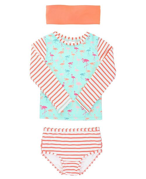 RuffleButts Baby Girl's Long Sleeve Rash Guard Swimsuit Swim Headband Set, 2 Piece