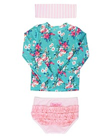 Toddler Girls Long Sleeve Rash Guard Bikini with Zipper Swim Headband Set, 2 Piece