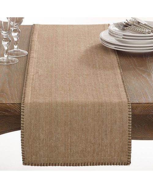 Saro Lifestyle Celena Collection Whip Stitched Design Cotton Table Runner