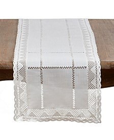 White Lace Table Runner with Embroidered Design