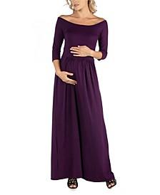 Off Shoulder Pleated Waist Maternity Maxi Dress