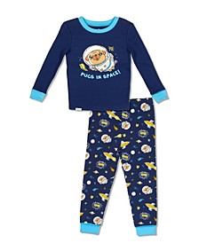 Boys Toddler, Little and Big Pug in Space Print 2 Piece Cotton Pajama Set with Grow with Me Cuffs