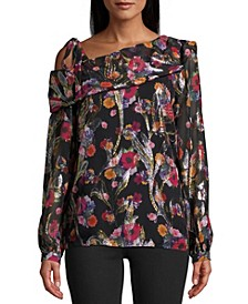 Jacquard Single-Shoulder Blouse
