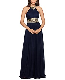 Embroidered Halter Gown