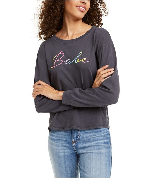 Rebellious One Juniors' Babe Long-Sleeved Graphic T-Shirt