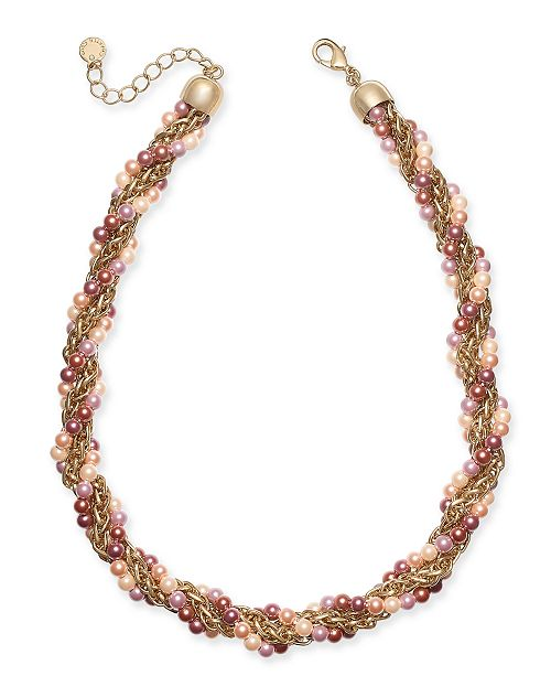 "Charter Club Gold-Tone Imitation Pearl Torsade Necklace, 17"" + 2"" extender, Created For Macy's"