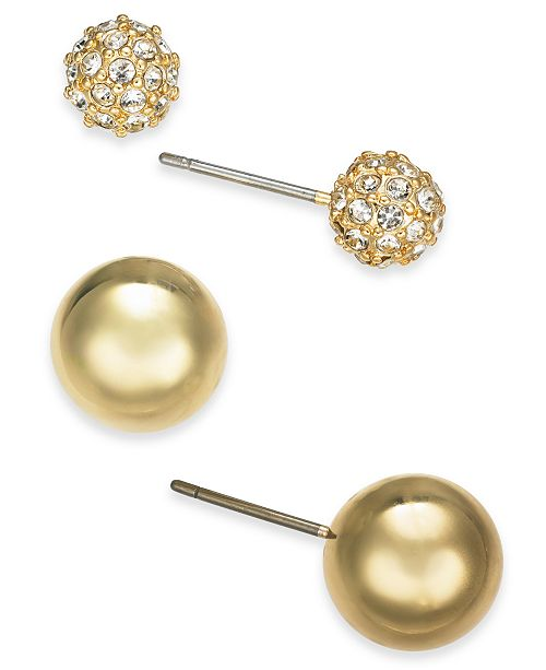 Charter Club Gold-Tone 2-Pc. Set Pavé Fireball & Bead Stud Earrings, Created for Macy's