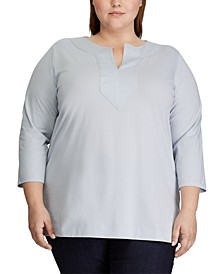 Plus Size Three-Quarter- Sleeve Jersey Top