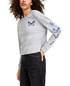 Juniors' Butterfly Long-Sleeved Graphic T-Shirt