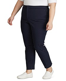 Plus Size Polka-Dot Stretch Twill Pants