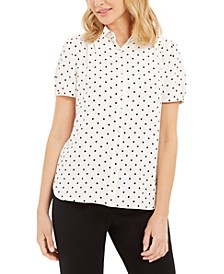 Dot-Print Button-Up Short-Sleeve Blouse