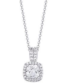 Birthstone Cushion Halo Pendant Necklace in Fine Silver Plate