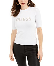 Olivia Rhinestone Short-Sleeve Pullover Sweater