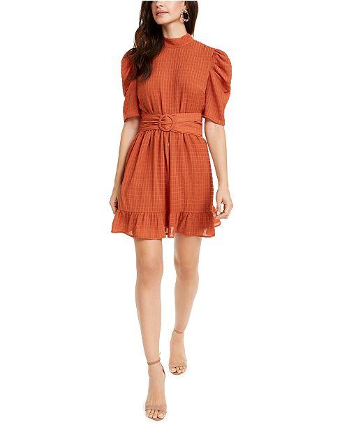 LEYDEN Puff-Sleeve Belted Mini Dress
