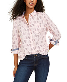 Tommy Hilfiger Cotton Polka-Heart Roll-Sleeve Shirt