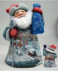 Woodcarved Retro Village Santa Figurine