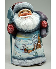 Woodcarved and Hand Painted Frosted Village Santa Figurine