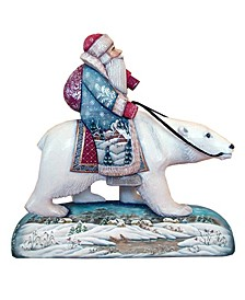 Woodcarved and Hand Painted Polar Bear Santa Claus Figurine