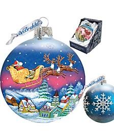Santa On Sleigh Ball Glass Ornament