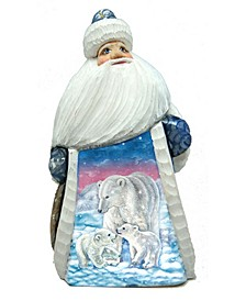 Woodcarved and Hand Painted Santa Polar Cub Family Figurine