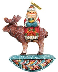Santa On Moose Ornament