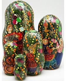 5-Piece Christmas Tree Santa Russian Matryoshka Nested Doll Set