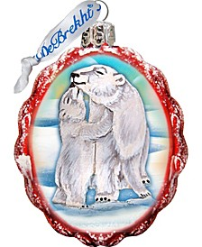 Santa Polar Bear Cubs Glass Ornament