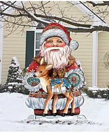 Dearest Friends Large Free Standing Wooden Santa Garden Decor