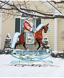 Horsey Santa Free Standing Garden Decor