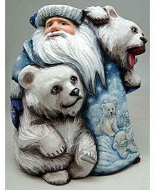 Woodcarved and Hand Painted Polar Companions Santa