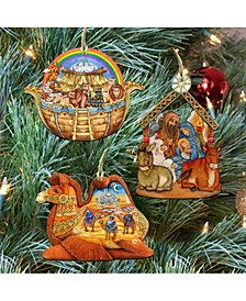 Story of Nativity Ornaments, Set of 3