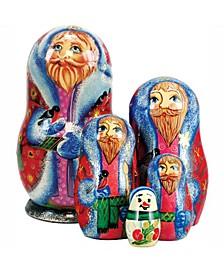 5-Piece Santa Bird Lower Russian Matryoshka Nested Doll Set