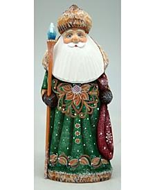 Woodcarved and Hand Painted Santa Green Twinkle-Yuletide Santa Figurine