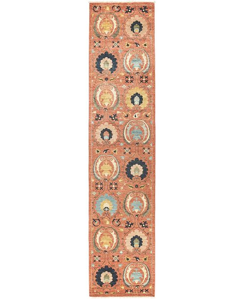 """Timeless Rug Designs CLOSEOUT! One of a Kind OOAK518 Rose 2'9"""" x 12'3"""" Runner Rug"""