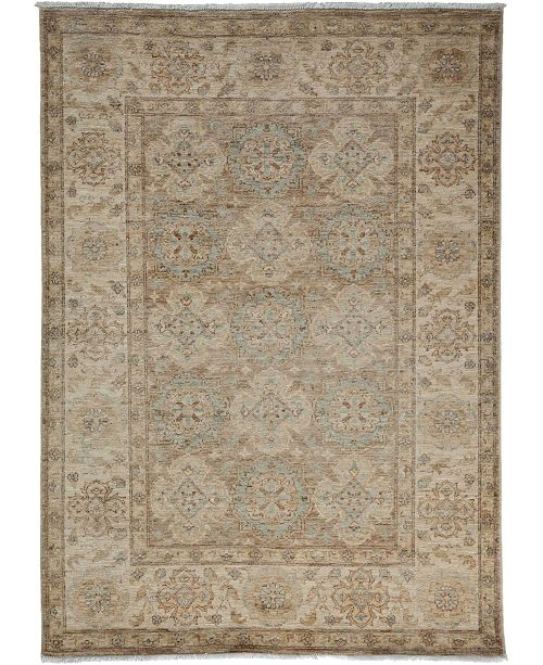 "Timeless Rug Designs One of a Kind OOAK3452 Mocha 4'1"" x 5'4"" Area Rug"