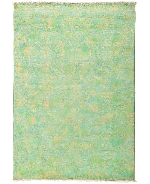 "Timeless Rug Designs One of a Kind OOAK2936 Lime 4'1"" x 6' Area Rug"