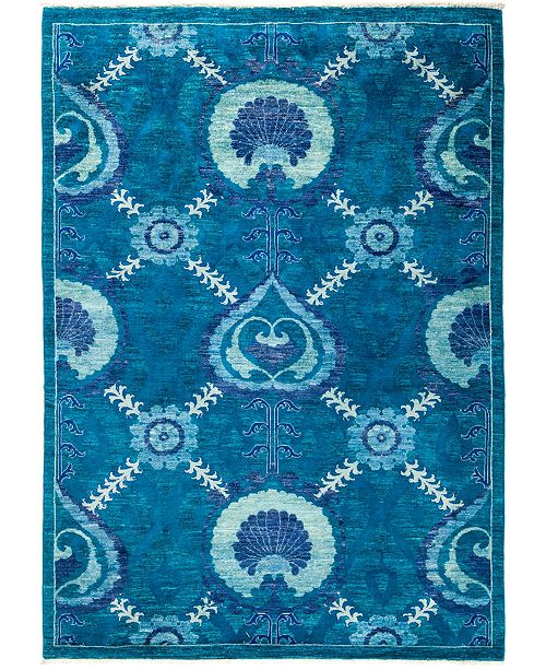 """Timeless Rug Designs CLOSEOUT! One of a Kind OOAK2870 Turquoise 5'3"""" x 7'4"""" Area Rug"""