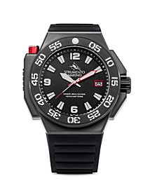 Men's Abisso Professional Divers Black Silicone Performance Timepiece Watch 46mm