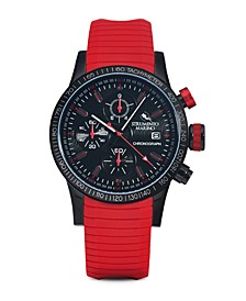 Men's Admiral Chronograph Red Silicone Performance Timepiece Watch 45mm