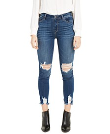 Destructed Fray-Hem Skinny Jeans