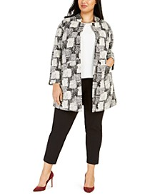 Plus Size Jacquard Stand-Collar Open-Front Jacket