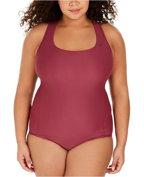 Nike Plus Size Solid Essential Crossback One-Piece Swimsuit