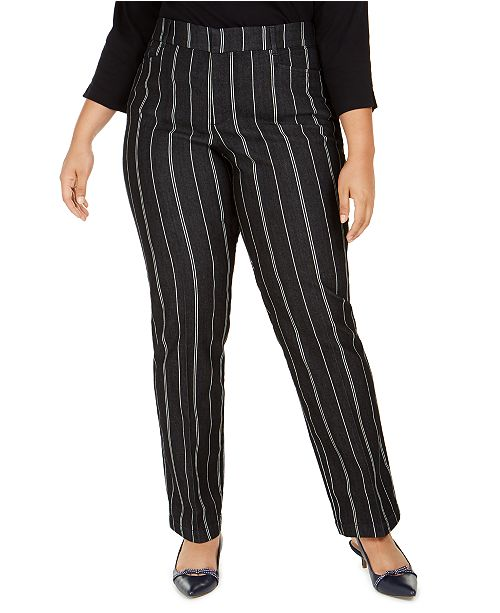 Charter Club Plus Size Striped Denim Trousers, Created for Macy's
