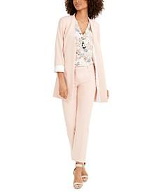 Open-Front Blazer, Floral-Print Top & Slim-Fit Pants