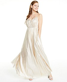 Juniors' Metallic Foil Rhinestone-Waist Gown, Created for Macy's