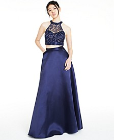 Juniors' 2-Pc. Embellished Halter Gown, Created for Macy's