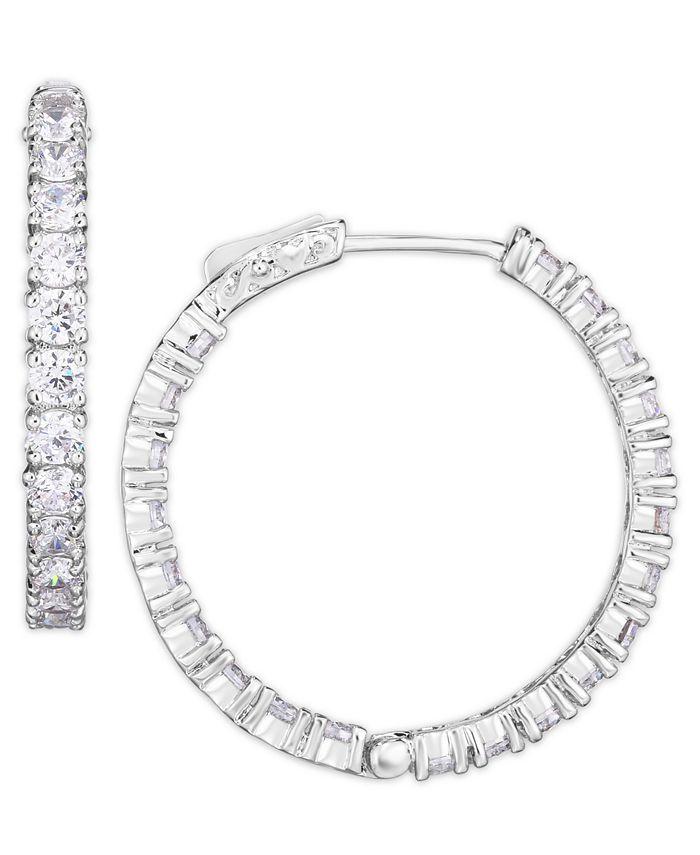 Macy's - Cubic Zirconia Large Hoop Earrings in Fine Silver Plate