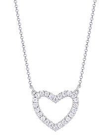Cubic Zirconia Heart Outline Pendant Necklace in Fine Silver Plate