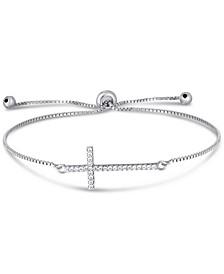 Cubic Zirconia Cross Adjustable Slider Bolo Bracelet in Fine Silver Plate